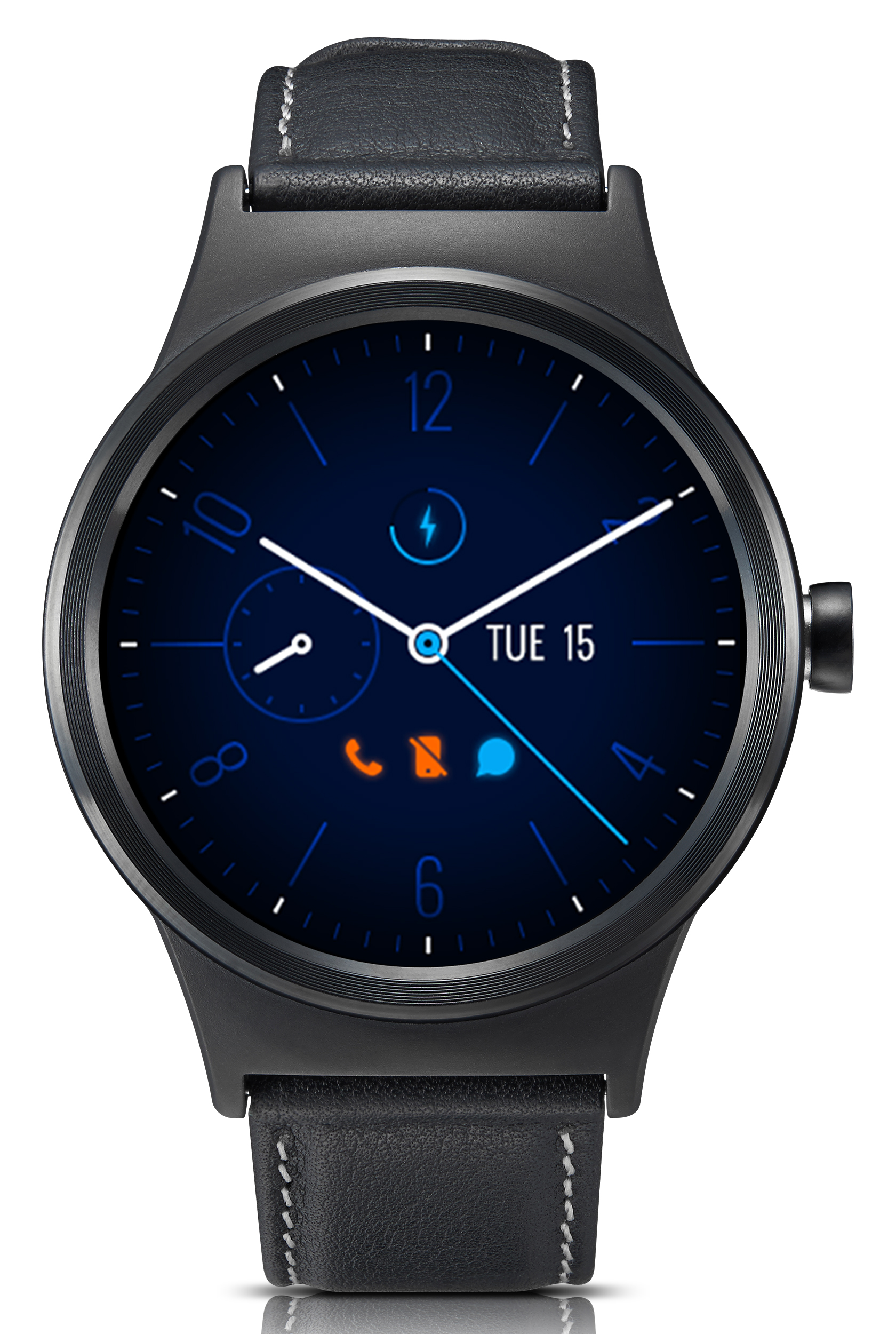 TCL MOVETIME Smartwatch, Leather, Black/Black